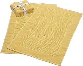 900 GSM Machine Washable Jacquard Chevron 100% Cotton Bath Mats - 21x34 Inches 2-Pack - Hotel-Spa Tub-Shower Bath Mat Floor Towels -Soft & Absorbent Cotton Bath Mats- Yellow Bath mat set for Bathroom