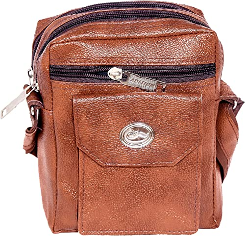 PU Leather Sling Messenger Bag Tan Shoulder Bag for Men 9 Inch SHESB05
