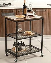 Tayene Bar Serving Cart Home Myra Rustic Mobile Kitchen Serving cart,Industrial Vintage Style Wood Metal Serving Trolley (...