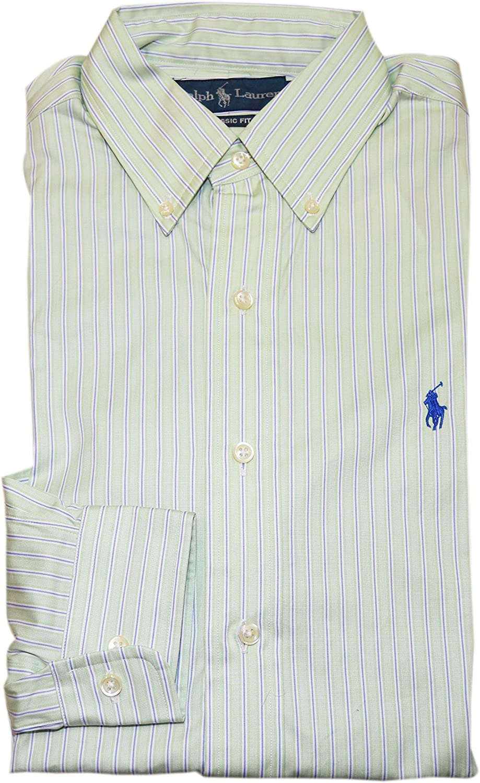 Ralph Lauren Polo Mens Classic Dress Shirt Green Purple White Stripe 14.5 32/33 $145