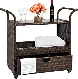 Best Choice Products Outdoor Patio Wicker Serving Bar Cart w/Locking Wheels, Glass Table Top, and Pullout Drawer, Brown