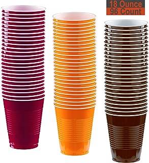 18 oz Party Cups, 96 Count - Burgundy, Pumpkin Orange, Brown - 32 Each Color