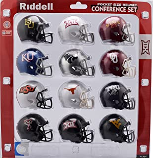 Riddell Pocket Pro Speed Helmet Big XII 12 Conference Set -12 Helmets - Baylor, Iowa St, Kansas, Kansas St,Oklahoma,Oklahoma St,Texas,TCU, Texas Tech, West Virginia, 2 Big XII Logo Helmets - 2018 Set
