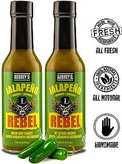 Aubrey D. Rebel Jalapeno Hot Sauce, Spicy Pepper Flavor For Meat, Fish, Chicken & Vegetables