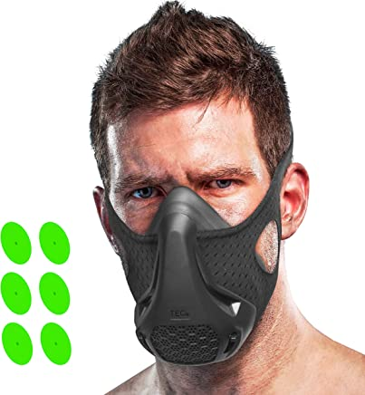 TEC Workout Oxygen Mask - 16 Breathing Levels, Gain Benefits of High Altitude Elevation Training for Running, Biking, Sports, HIIT; Increases Strength, Endurance, Stamina [+ Free Bonus Carry Case]