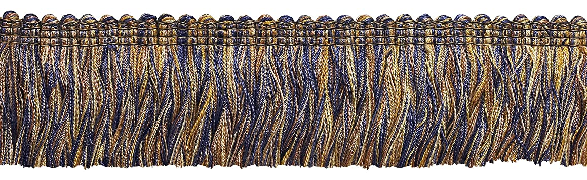 DecoPro 5 Yard Value Pack of Navy Blue Taupe Baroque Collection Brush Fringe 1 3/4