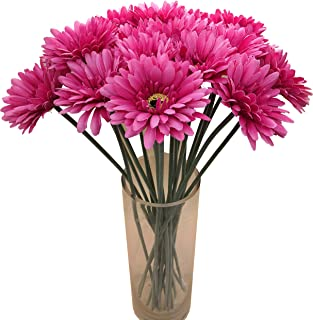 cn-Knight Artificial Flower 12pcs 22'' Long Stem Silk Daisy Faux Mums Flower Chrysanth Gerbera for Wedding Bridal Bouquet Bridesmaid Home Decor Office Baby Shower Prom Centerpiece(Dark Pink)