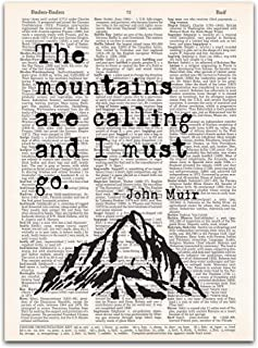 John Muir Quotes Wall Art, Mountains are Calling, Vintage Dictionary Page Print