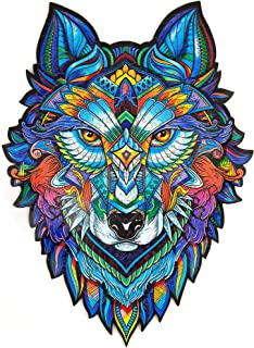 Unidragon Wooden Puzzle Jigsaw, Best Gift for Adults and Kids, Unique Shape Jigsaw Pieces Majestic Wolf, 6.7 ? 9.5 inches, 101 Pieces, Small