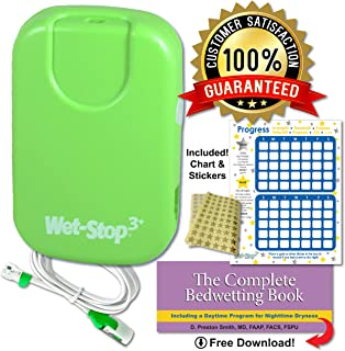 Wet-Stop 3 Bedwetting Alarm (Green) 6 Alarms & Vibration, Enuresis Alarm, Incontinence, Potty Training, 100% Satisfaction Guaranteed