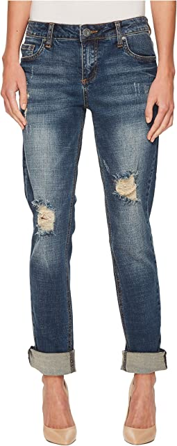 KUT from the Kloth - Catherine Boyfriend Wide Cuff Jeans in Impressed/Dark Stone Base Wash