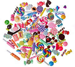 CCINEE 100 Pieces Slime Charms Mixed Resin Candy Sweets Beads Flatback Cabochons Charms for Slime DIY Crafts Scrapbooking