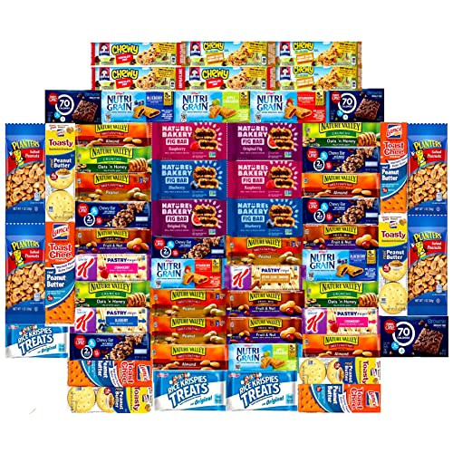 Ultimate Healthy Office Bars (60 count), Snacks & Nuts Bulk Variety Pack - Travel Snack Box - Military Care Package, Variety Gift Pack for Office, Military, Travel, Students, Final Exams, Outdoor,