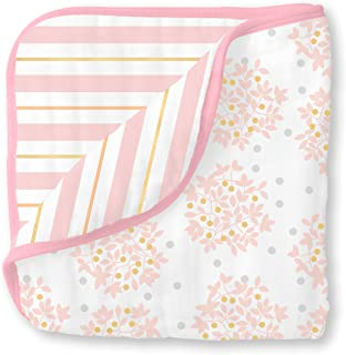 SwaddleDesigns 4-Layer Cotton Muslin Luxe Blanket, Cuddle and Dream, Pink Heavenly Floral Shimmer
