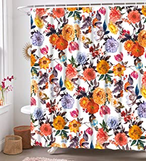 """Neasow Boho Floral Shower Curtains for Bathroom, Fabric Blossom Shower Curtain Set with 12 Hooks, Red White 72""""×72"""""""