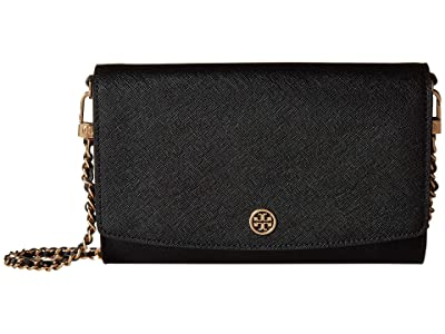 Tory Burch Robinson Chain Wallet (Black) Bill-fold Wallet