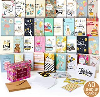 Happy Birthday Cards Assortment - Bday Cards in Bulk - 5x7 Assorted Variety Box Set 40 Pack Unique Designs with Envelopes - Blank Birthday Card for Men Women Kids - for Office Home