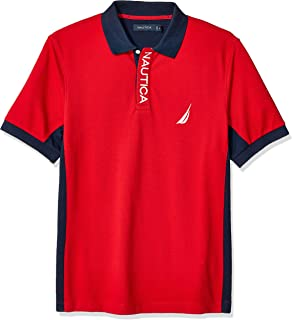 Men's Short Sleeve Color Block Performance Pique Polo Shirt