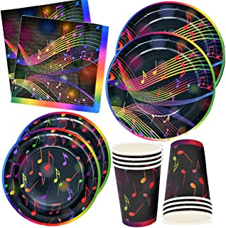 """Musical Notes Tableware Set 24 9"""" Paper Plates 24 7"""" Plates 24 9 Oz Cups and 50 Luncheon Napkins Kids Music Party Supplies Birthday Decorations Music Note Karaoke Themed Party Favors by Gift Boutique"""