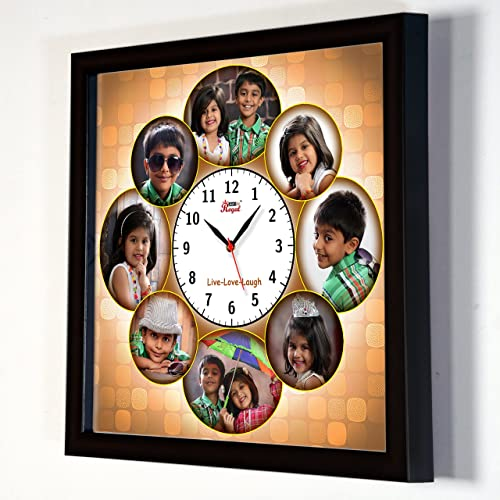 3faa71a0cb AJANTA ROYAL Personalized Synthetic Wood Photo Frame Collage Clock (13 x  13-inches