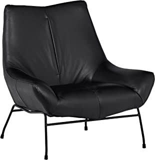 Amazon Brand – Rivet Villain Mid-Century Modern Leather Metal Leg Accent Lounge Chair, 37.4W, Black