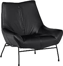 Rivet Villain Mid-Century Modern Leather Metal Leg Accent Lounge Chair, 37.4W, Black