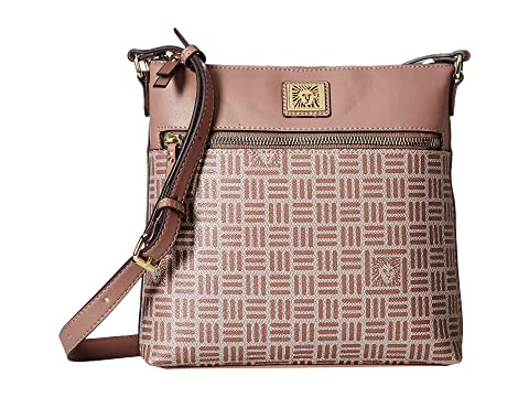 Lion Logo North/South Crossbody, Linen/Lilac/Lilac