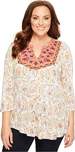 Lucky Brand - Plus Size Embroidered Bib Top