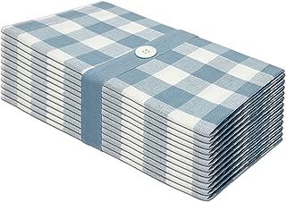 COTTON CRAFT 12 Pack Gingham Checks Oversized Dinner Napkins - Wedgewood Blue - Size 20