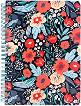 """Women's Teen Girls Cute Mini Spiral Notebook, 8.25"""" x 6.25"""" with Durable Hardcover and 160 Lined Pages, Folk Floral"""