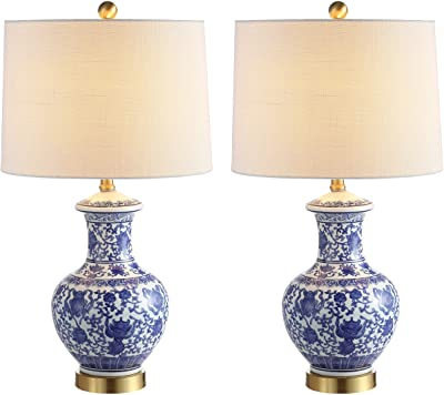 """JONATHAN Y JYL1072A-SET2 Jennifer 25.25"""" Ceramic/Metal LED Lamp Traditional,Transitional,Cottage for Bedroom, Living Room, Office, College Dorm, Coffee Table, Bookcase, Blue/White, 2 Piece"""