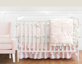 pink and gold baby crib bedding