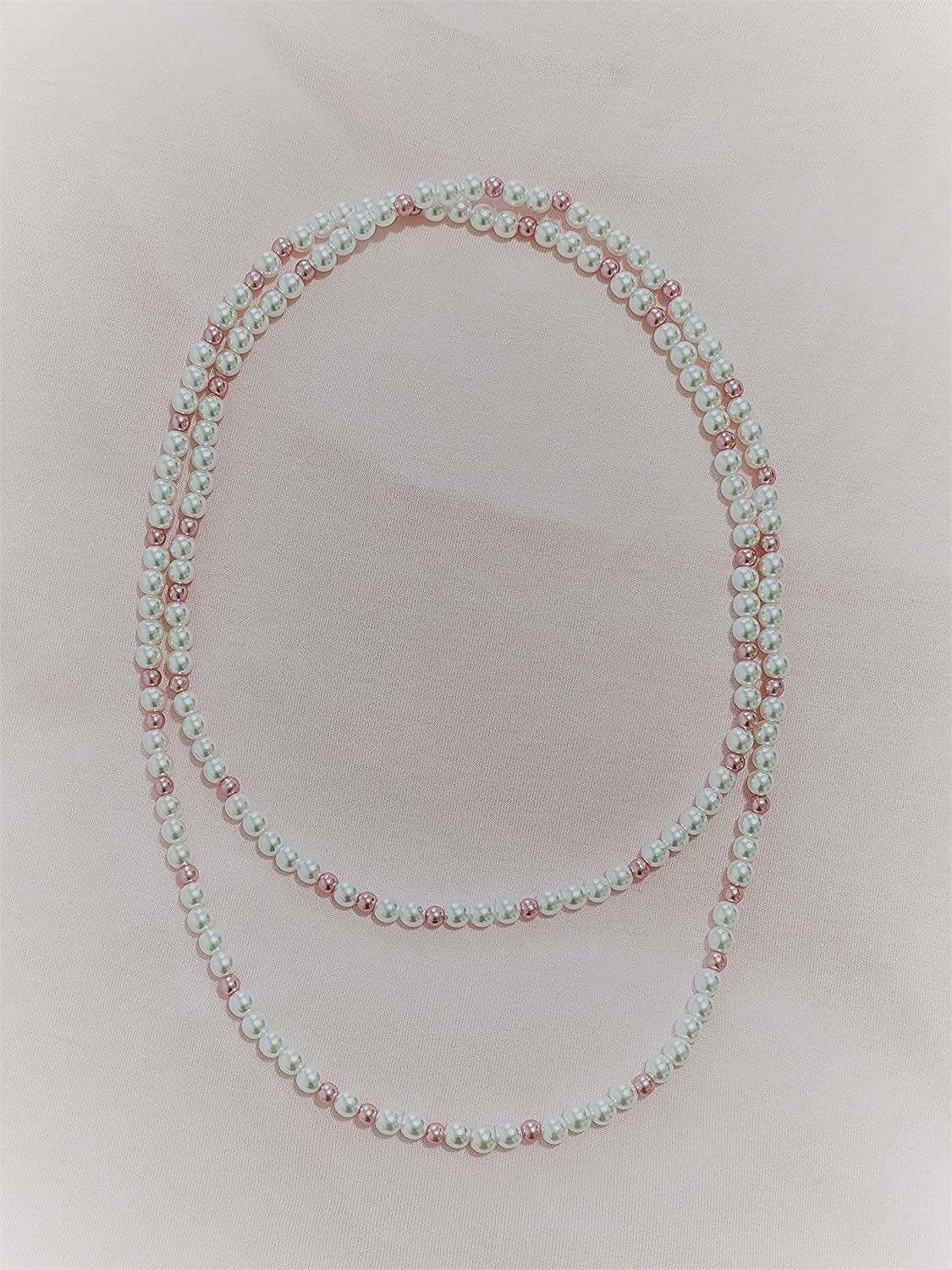 Elegant Long Simulated Las Vegas Mall Pearls Necklace Beaded Loop Continuous latest