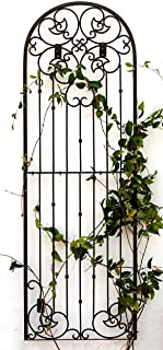 H Potter Outdoor Metal Wall Art Decor or Trellis for Climbing Plants Garden Panel Roses Vines Privacy Includes Brackets for Hanging X Large with 4 Mounts