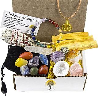 White Sage, Palo Santo Wood & Crystal Healing Kit (17Pc) Smudge Stick, Palo Santo Sticks, Raw Crystals, Quartz Obelisk, 7 ...