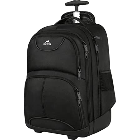 Rolling Backpack, MATEIN Waterproof College Wheeled Laptop Backpack for Travel, Carryon Trolley Luggage Suitcase Compact Business Bag Student Computer Bag for Men Women fit 15.6 Inch Notebook,Black