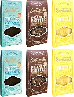 Sweetsmith Candy Co. Sugar-Free Peanut Brittle, Coconut Brittle & Toffee Variety Pack of 6 – Keto-Friendly, Diabetic-Friendly, Celiac-Safe – Low Glycemic Index, Low Net Carb, Low Carb, Gluten-Free