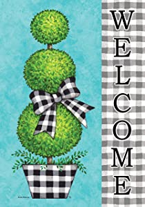 Custom Decor Gingham Topiary Welcome - Garden Size, Decorative Double Sided, Licensed and Copyrighted Flag - Printed in The USA Inc. - 12 Inch X 18 Inch Approx. Size