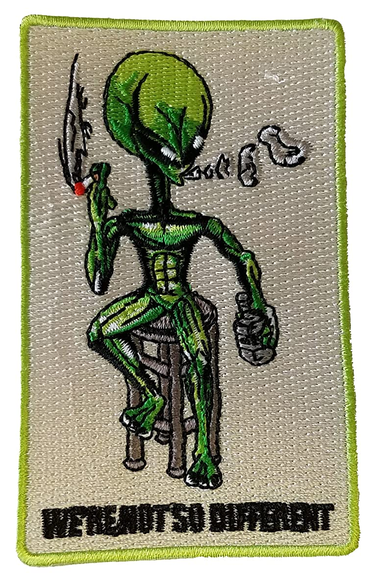 Alien on Barstool We're Not So Different - Novelty Iron On Patch Applique