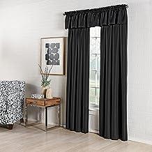 ستارة نافذة مخصصة من Lorraine Home Fashions Ribcord مقاس 137.7 سم × 150.4 سم أسود