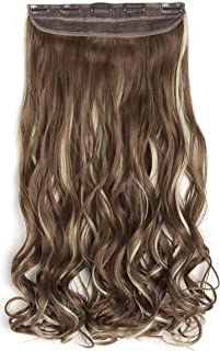 """OneDor 20"""" Curly 3/4 Full Head Synthetic Hair Extensions Clip On/in Hairpiece 5 Clips 140g (10H613#)"""