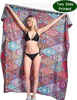Genovega Mandala Microfiber Beach Towel Blanket - Quick Fast Dry Sand Free Oversized Extra Large Big Outdoor Travel Rack Swim Micro Fiber Pool Picnic Thin Mat Accessories for 2 Women Boho Bohemian