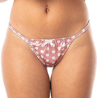 Satini Women's Polkadot Tanga Bikini Briefs Satin Panties