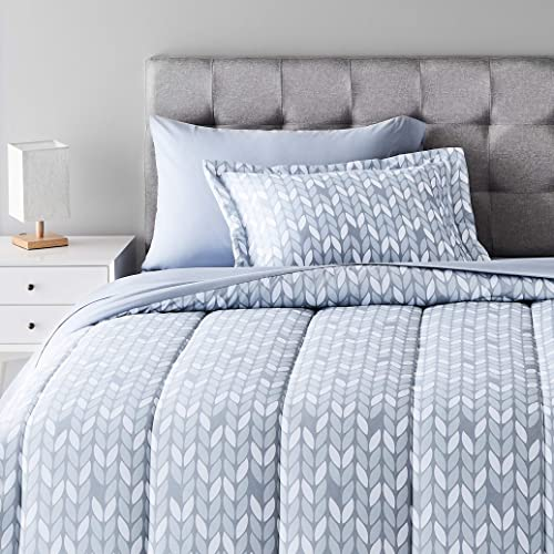 Amazon Basics 5-Piece Light-Weight Microfiber Bed-In-A-Bag Comforter Bedding Set - Twin/Twin XL, Grey Leaf