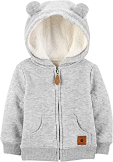 Baby Boys' Hooded Sweater Jacket with Sherpa Lining