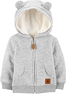 Baby Hooded Sweater Jacket with Sherpa Lining