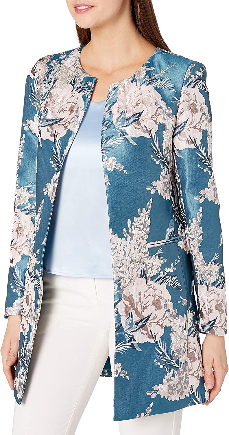Tahari ASL Women's Petite At the price of Max 41% OFF surprise Floral Jaquard Topper Neck Round