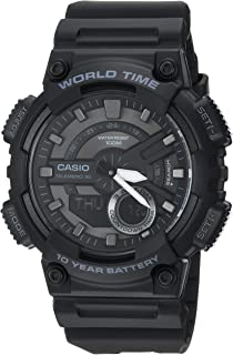Casio Men's Sports Stainless Steel Quartz Watch with Resin Strap, Black, 27.4 (Model: AEQ110W-1BV)