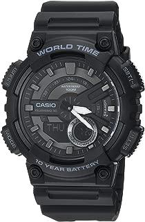 Casio Men's Sports Stainless Steel Quartz Watch with Resin Strap, Black, 27.4 (Model: AEQ110W-1BV)