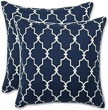 Pillow Perfect Outdoor | Indoor Garden Gate Navy 16.5 Inch Throw Pillow, 16.5 X 16.5 X 5, Blue